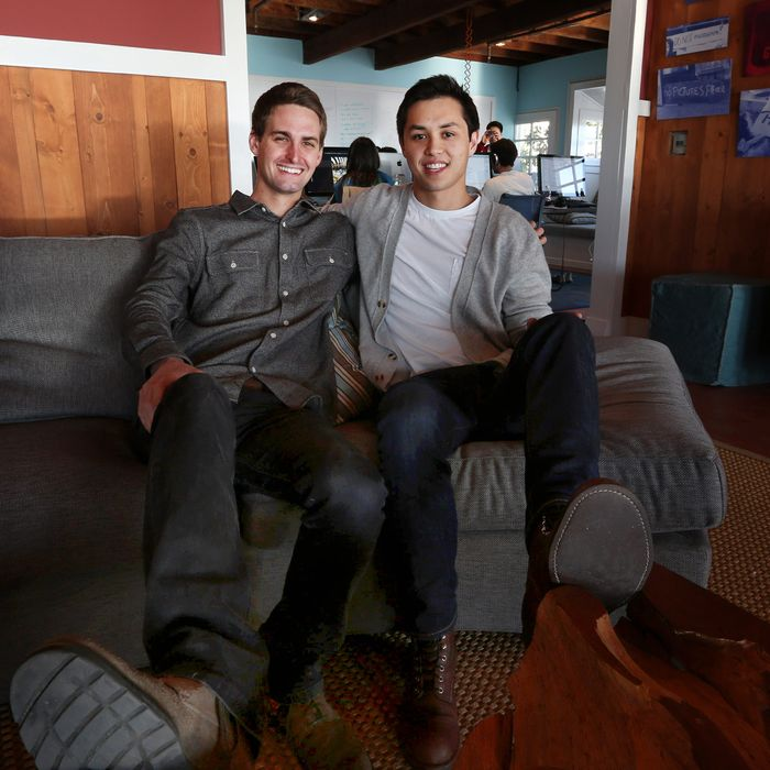 Evan Spiegel and Bobby Murphy, developers of Snapchat