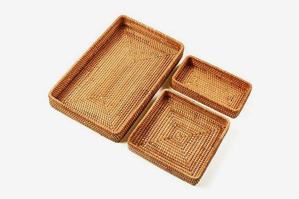 I-lan Set of 3 Handmade Rattan Rectangle Serving Trays