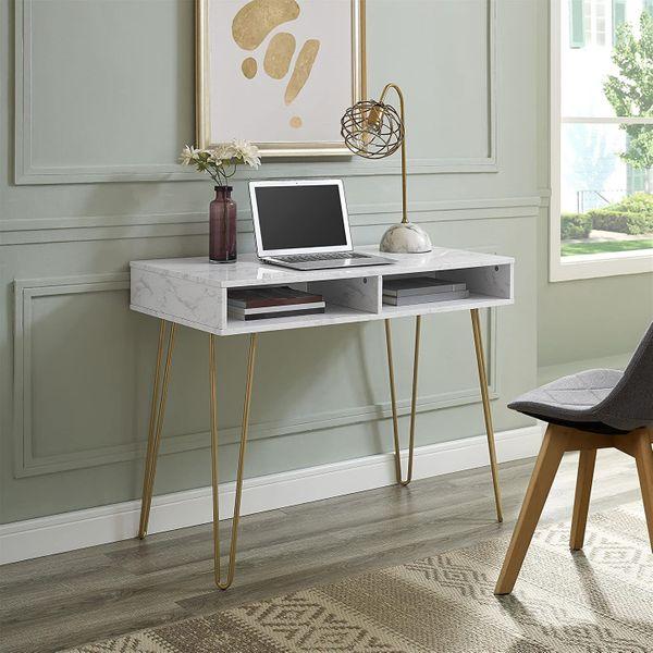 Novogratz White Marble Athena Computer Desk