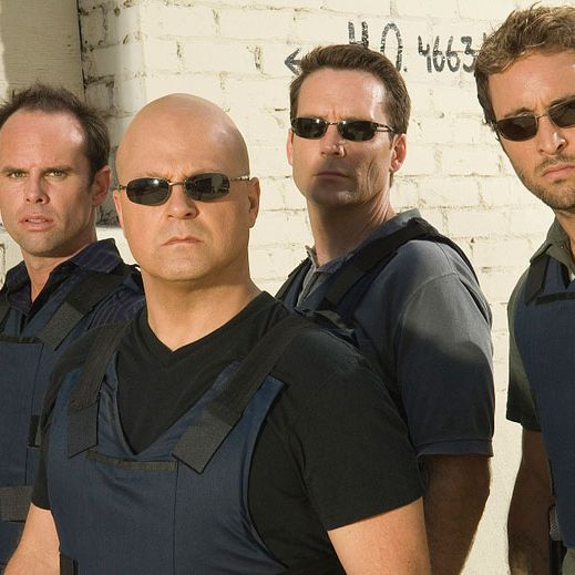 THE SHIELD: L-R: Walton Goggins, Michael Chiklis, David Rees Snell and Alex Laughlin.