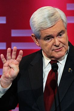 Former speaker of the House Newt Gingrich, speak during the ABC News GOP Presidential debate.