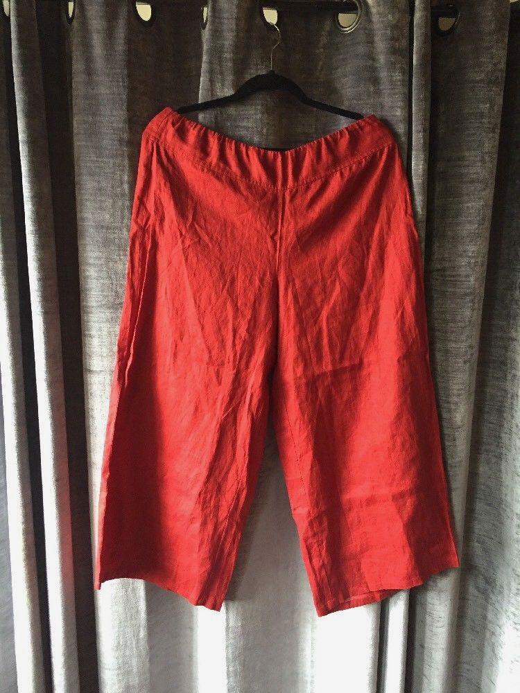 482b5db43 Eileen Fisher Womens Organic Linen Pants Wide Leg Burnt Rust