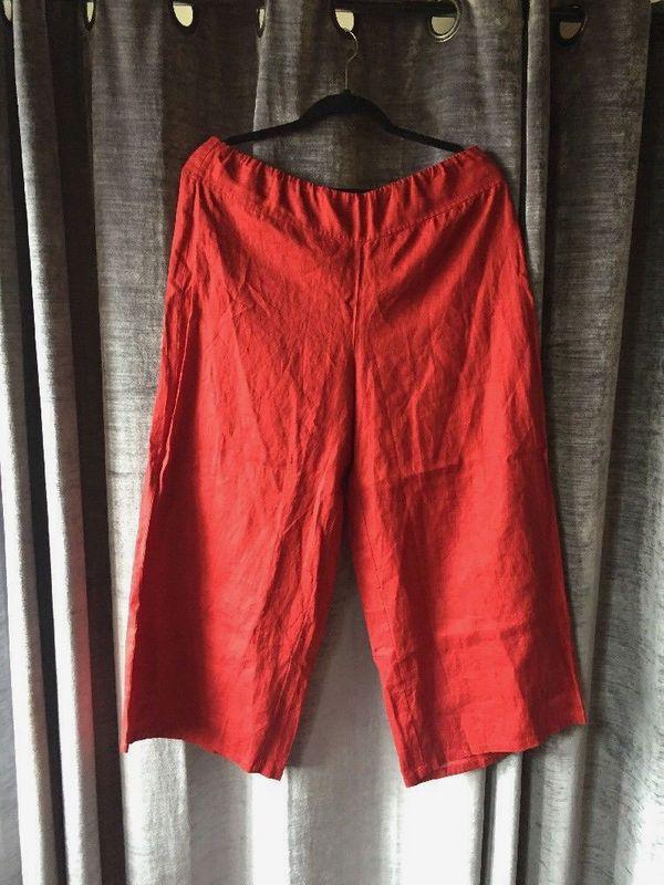 Eileen Fisher Womens Organic Linen Pants Wide Leg Burnt Rust