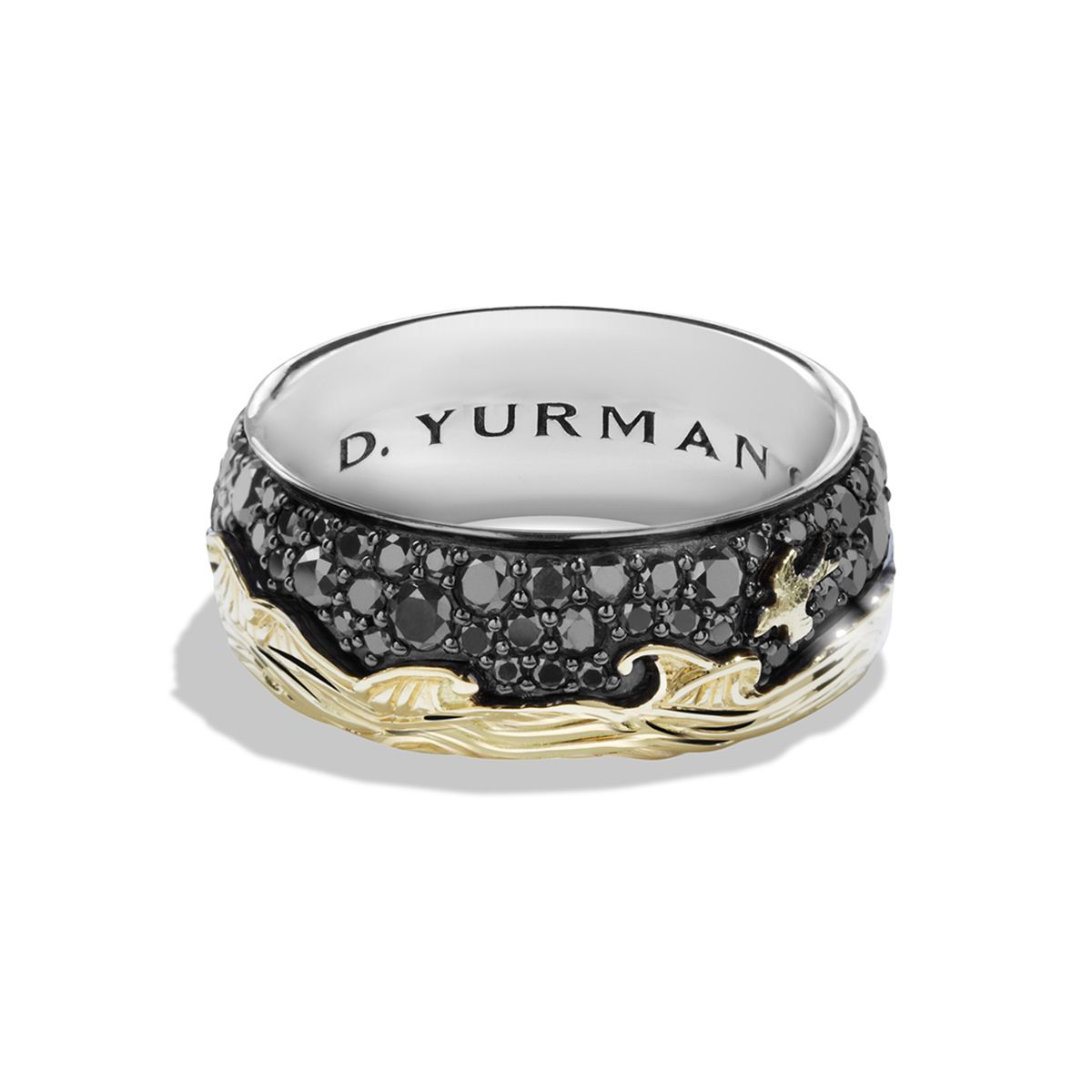 Waves Band Ring with Black Diamonds and 18K Gold