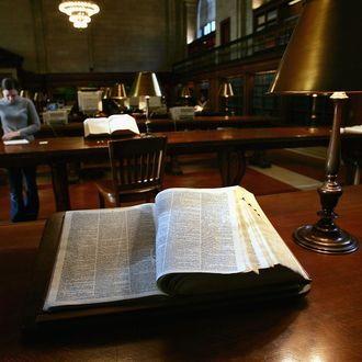 An encyclopedia stands open in the reading room at the New York Public Library December 15, 2004 in New York City.