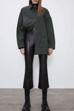 Zara Faux Leather Flared Leggings