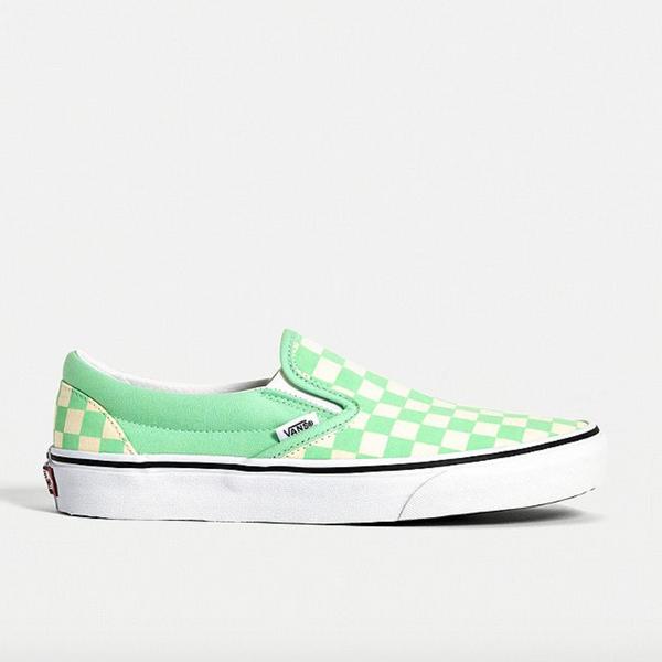 Vans Green Checkerboard Slip-On Trainers