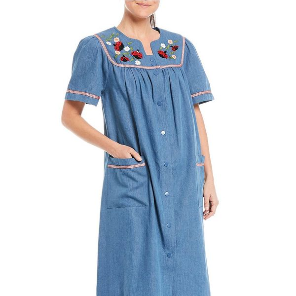 Go Softly Ladybug Embroidered Snap Front Denim Patio Dress