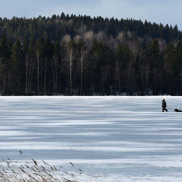 Frozen lake.