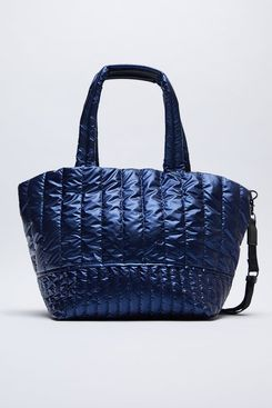 Zara Quilted Nylon Shopper