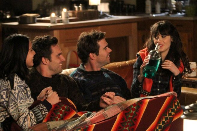 "NEW GIRL:  Trouble ensues when Nick (Jake Johnson, second from L) and Angie (guest star Olivia Munn, L) join Jess (Zooey Deschanel, R) and Sam (guest star David Walton, second from R) for a weekend getaway in the ""Cabin"" episode of NEW GIRL airing Tuesday, Jan. 8 (9:00-9:30 PM ET/PT) on FOX."