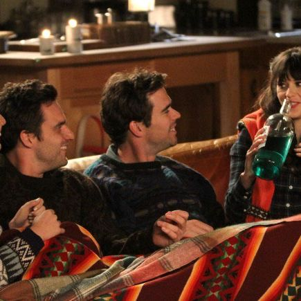 NEW GIRL: Trouble ensues when Nick (Jake Johnson, second from L) and Angie (guest star Olivia Munn, L) join Jess (Zooey Deschanel, R) and Sam (guest star David Walton, second from R) for a weekend getaway in the