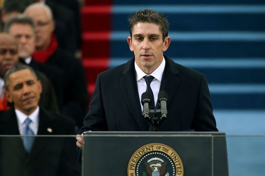 Poet Richard Blanco speaks during the presidential inauguration on the West Front of the U.S. Capitol January 21, 2013 in Washington, DC.   Barack Obama was re-elected for a second term as President of the United States.