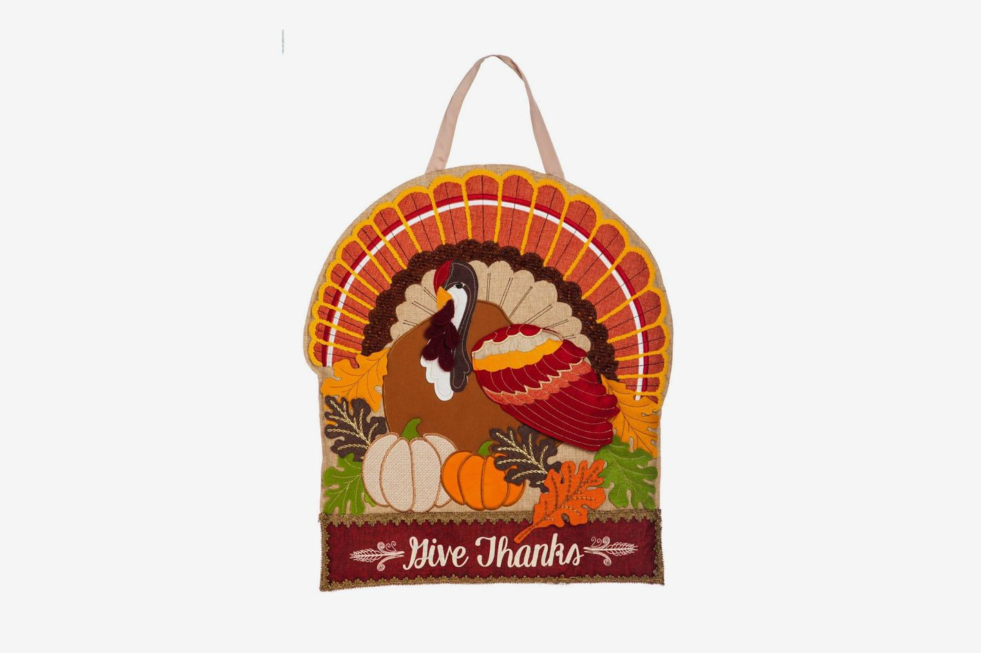 Evergreen Flag Thanksgiving Holiday Door Décor