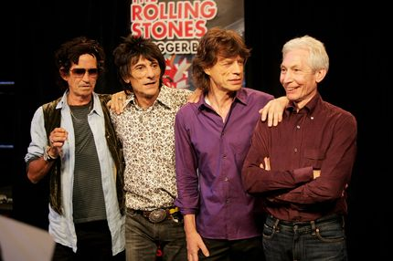BRUSSELS, BELGIUM - JUNE 01:  (L-R) Keith Richards, Ronnie Wood, Mick Jagger and Charlie Watts of The Rolling Stones pose for a photograph during a dress rehearsal prior to the opening concert of the 2007 European leg of their 'A Bigger Bang' World Tour at the Videohouse on June 1, 2007 in Brussels, Belgium.  This leg of the Tour begins on June 5 at Werchter Park, Belgium and is due to be completed in August in London, England.  (Photo by Getty Images) *** Local Caption *** Ron Wood;Mick Jagger;Keith Richards;Charlie Watts