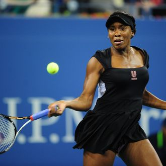 US tennis player Venus Williams returns a shot to Russia's Vesna Dolonts during their US Open 2011 match at the USTA Billie Jean King National Tennis Center in New York August 29, 2011. AFP PHOTO/Emmanuel Dunand (Photo credit should read EMMANUEL DUNAND/AFP/Getty Images)