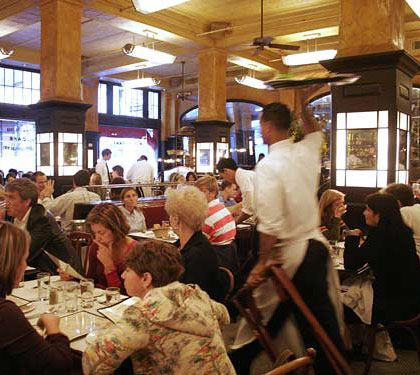 Keith McNally's famous Soho brasserie plummets from our top twenty this year and loses a star, because the menu has barely changed in a decade, casual French cooking is as exhausted as any cuisine in town, and the talented bistro chefs Riad Nasr and Lee Hanson now spend most of their time at McNally's other downtown hot spot, Minetta Tavern. Even so, the dining room is as luminous as ever, and if you're in the mood for a nostalgic bite of steak tartare or a restorative morning cup of café au lait, this is still the place to go.