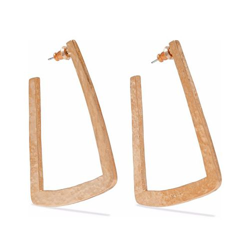 Ben-Amun Hammered gold-tone hoop earrings