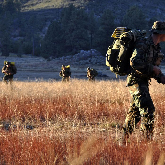 In this handout provided by the U.S. Navy, Students from Basic Underwater Demolition/SEAL (BUD/S) class 284 participate in a land navigation training exercise October 27, 2010 in Mt. Laguna, California. Land navigation familiarizes students with map and compass navigation in the third and final phase of BUD/S training. Navy SEALs are the maritime component of U.S. Special Operations Forces and are trained to conduct a variety of operations from the Sea, Air and Land.
