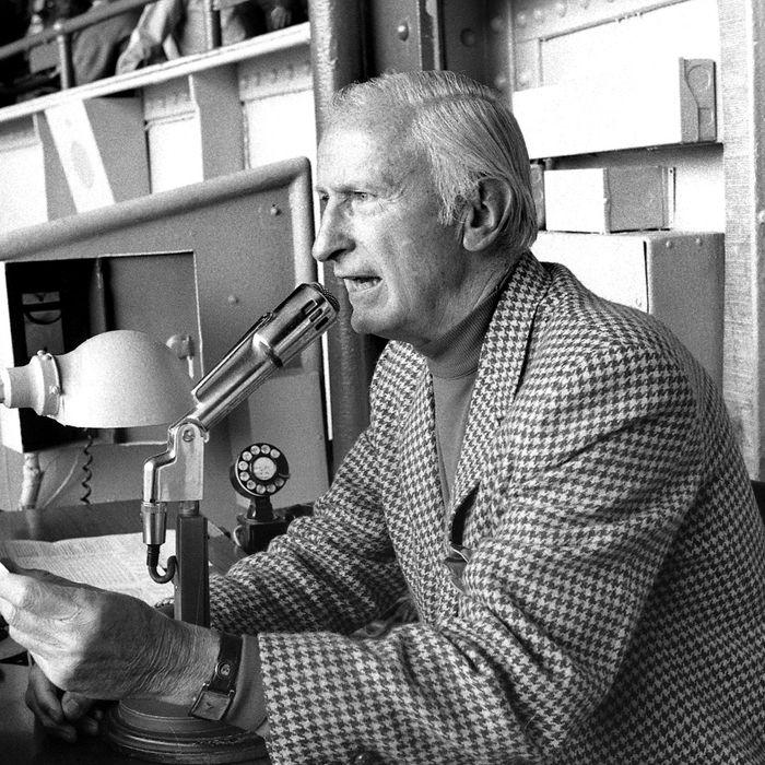 Yankee Announcer, Bob Sheppard Yankee Stadium Public Address announcer at work.