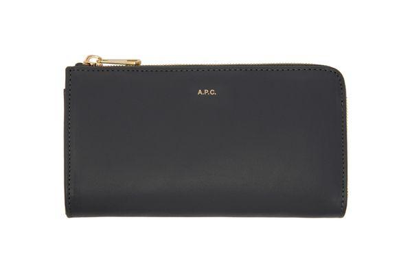 A.P.C. Grey Long Zip Wallet