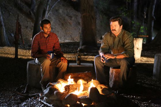 "PARKS AND RECREATION -- ""Sex Education"" Episode 504 -- Pictured: (l-r) Aziz Ansari as Tom Haverford, Nick Offerman as Ron Swanson."