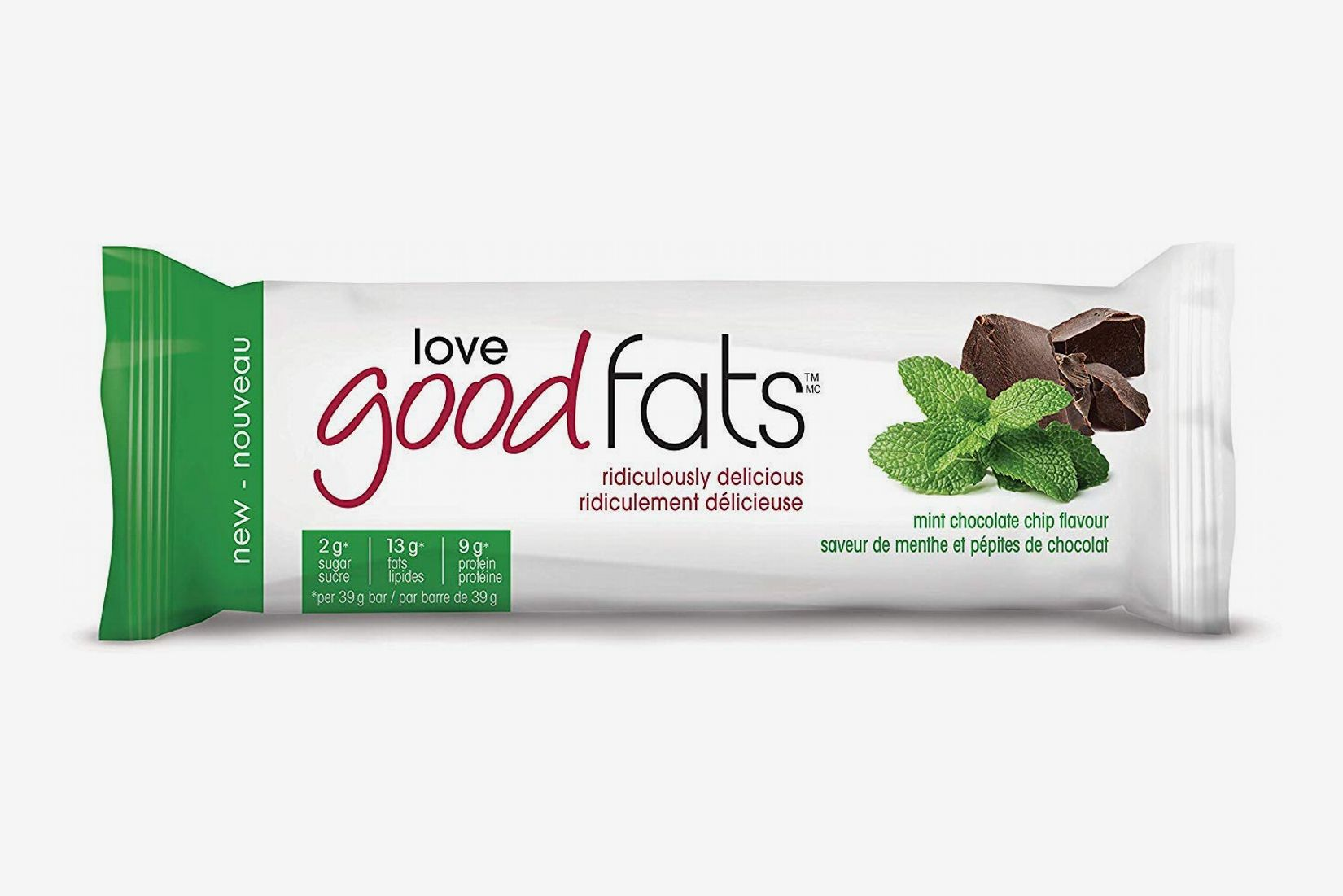 Love Good Fats Bars, Mint Chocolate Chip - Box of 12