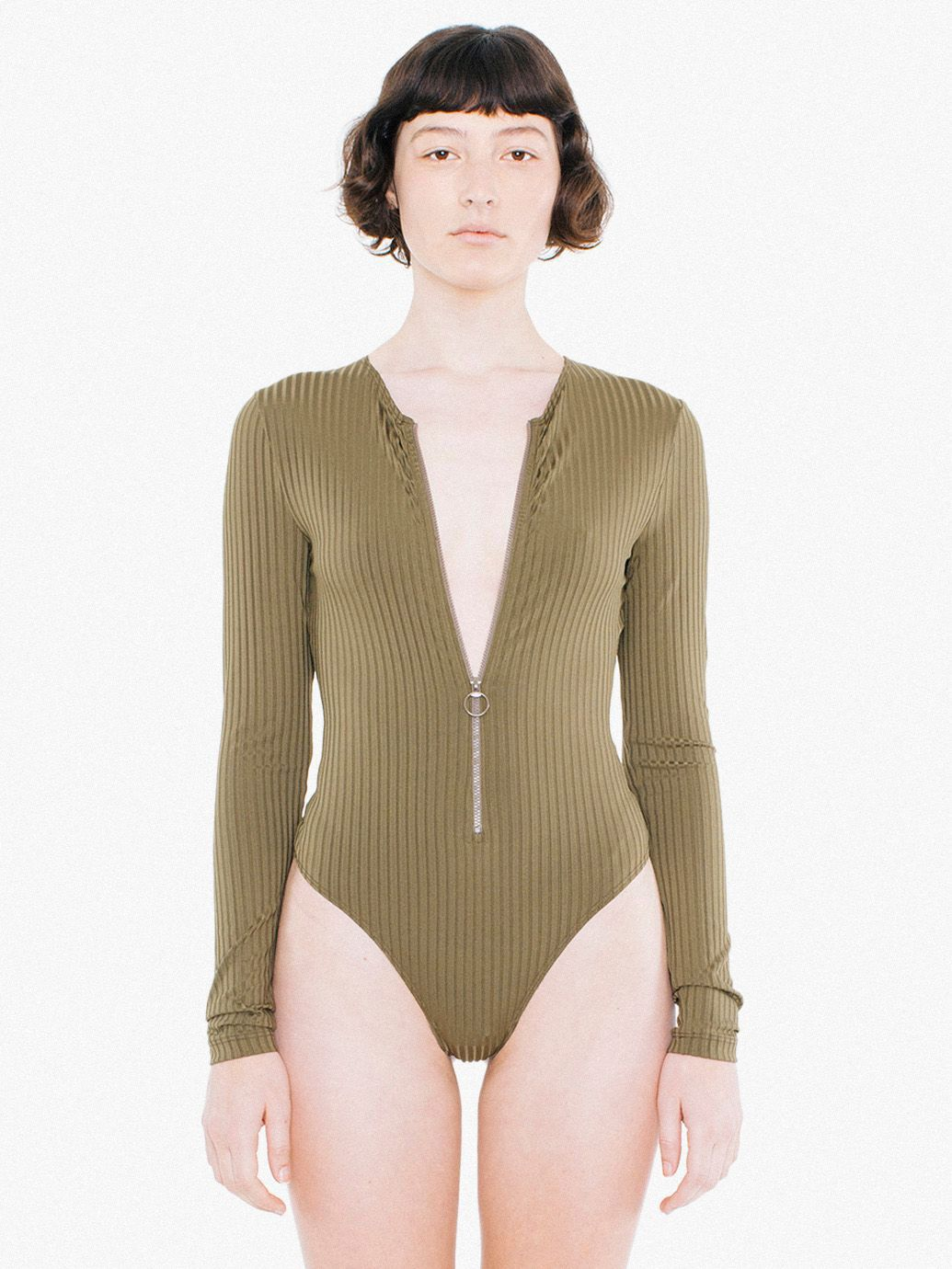 Glace Rib Zip-Up Thong Bodysuit