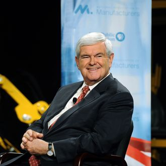 PELLA, IA - NOVEMBER 1: Former Speaker of the House and Republican presidential candidate Newt Gingrich smiles during a forum on manufacturing November 1, 2011 at Vermeer Manufacturing in Pella, Iowa. Five of the Republican candidates, excluding Herman Cain and former Massachusetts Gov. Mitt Romney who declined to come, are slated to appear at the forum. (Photo by Steve Pope/Getty Images)