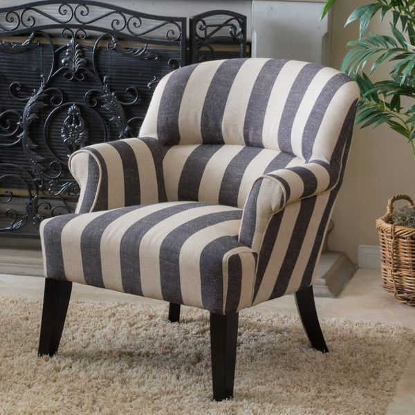 Noble House Sophie Blue Stripe Fabric Club Accent Chair
