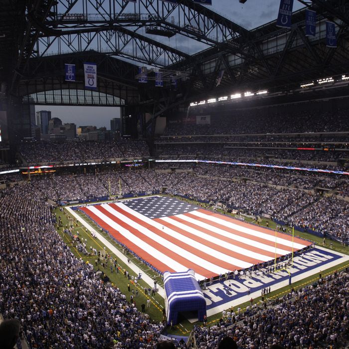 A general view of Lucas Oil Stadium.