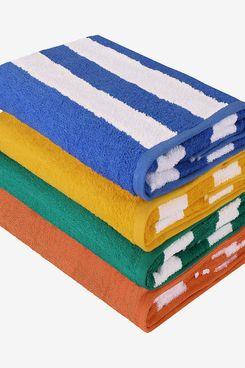 Utopia Towels - 4 Cabana Stripe Beach Towels - 76 x 152 cm, Blue