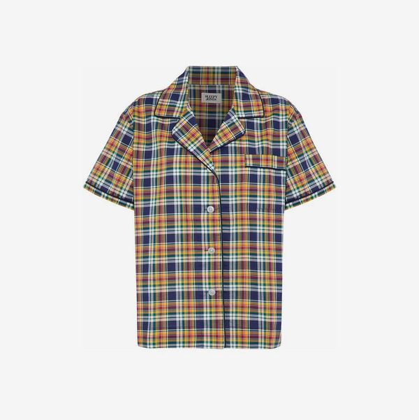 Checked Cotton-Poplin Pajama Top - strategist best multi color checked short sleeve button up pajama top