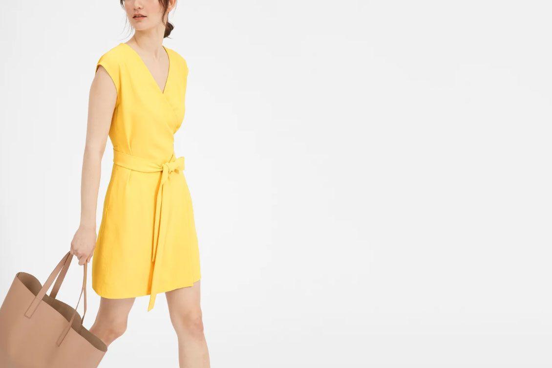 The Japanese GoWeave Short-Sleeve Mini Wrap Dress