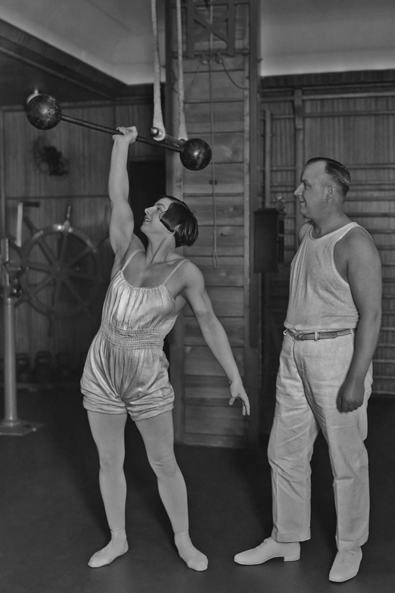 1930 women working out the cut