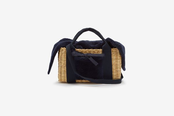 Muun Manon Shearling and Woven Straw Bag