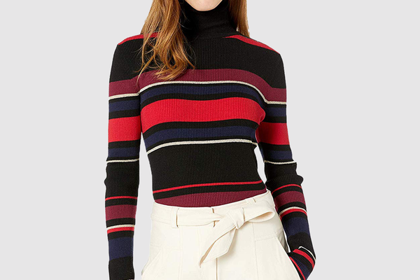 cupcakes and cashmere Women's Herrick Yarn Dyed Stripe Turtleneck