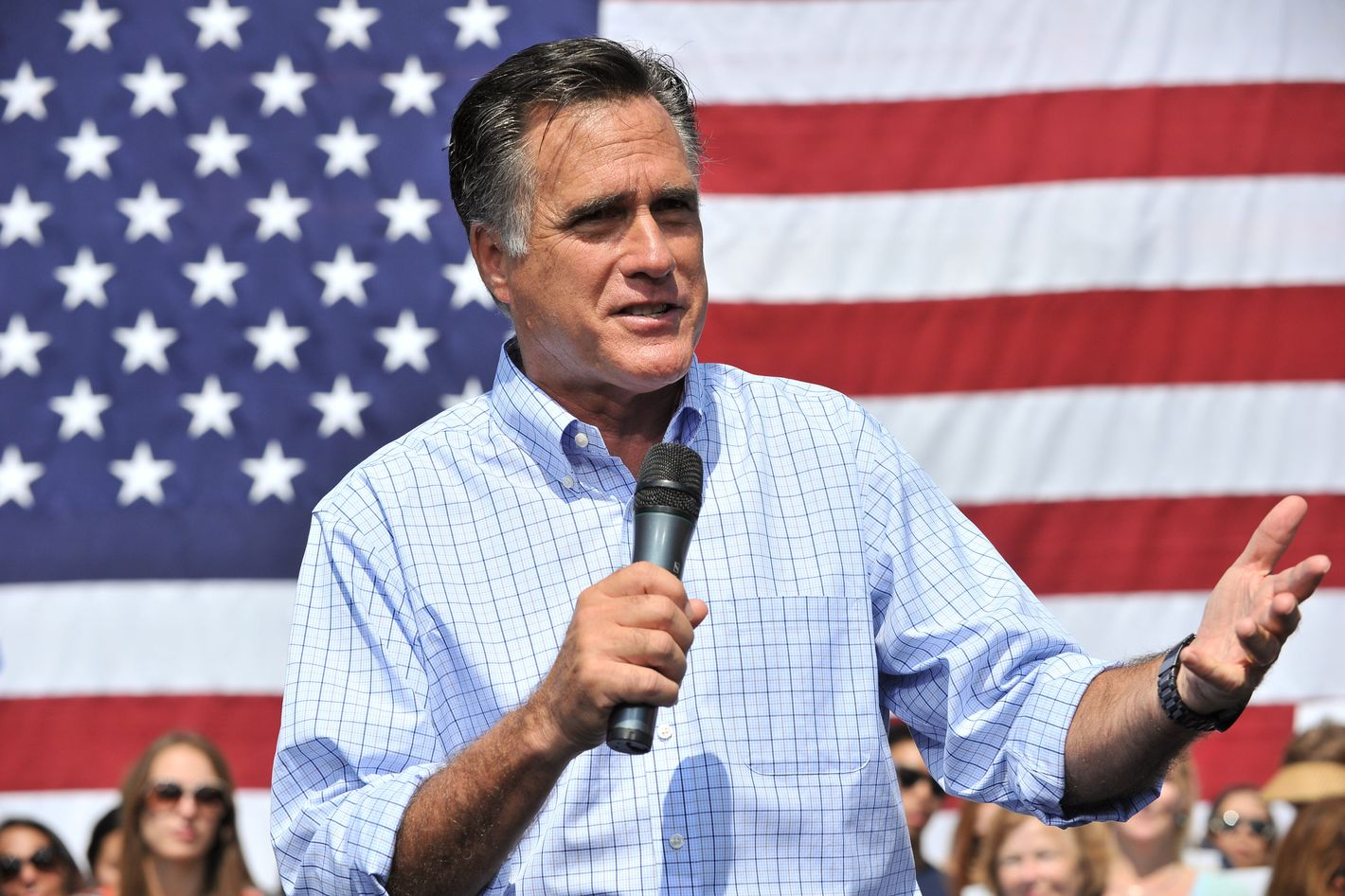 US Republican presidential candidate Mitt Romney speaks at a campaign rally in Fairfax, Virginia, on September 13, 2012.