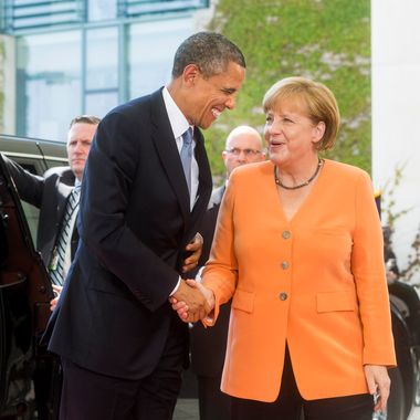 BERLIN, GERMANY - JUNE 19:  U.S. President Barack Obama meets German Chancellor Angela Merkel for bilateral talks at the Chancellery on June 19, 2013 in Berlin, Germany. Obama is visiting Berlin for the first time during his presidency and his speech at the Brandenburg Gate is to be the highlight. Obama will be speaking close to the 50th anniversary of the historic speech by then U.S. President John F. Kennedy in Berlin in 1963, during which he proclaimed the famous sentence: Ich bin ein Berliner.  (Photo by Jochen Zick - Pool /Getty Images)