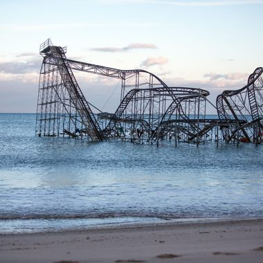 Seaside Heights, November 3, 2012,  A roller coaster from the Seaside Amusement Park stands in the Atlantic Ocean after Hurricane Sandy destroyed the Seaside Heights boardwalk where it stood.