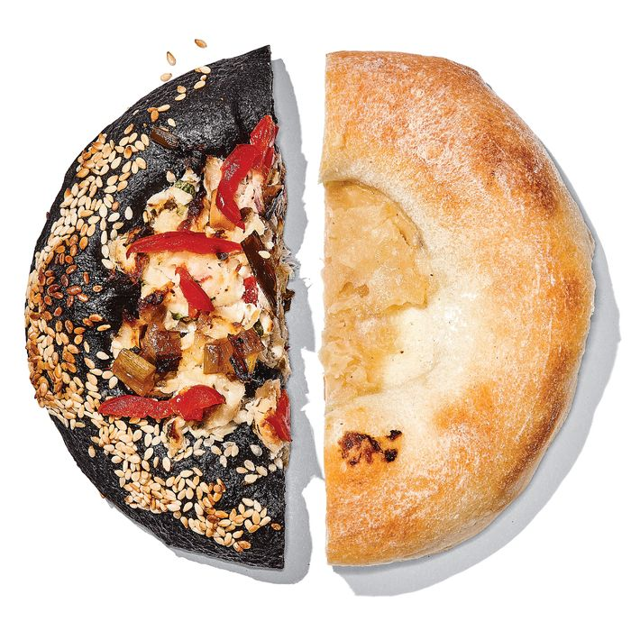High Street on Hudson's whitefish bialy, left; Kossar's classic.