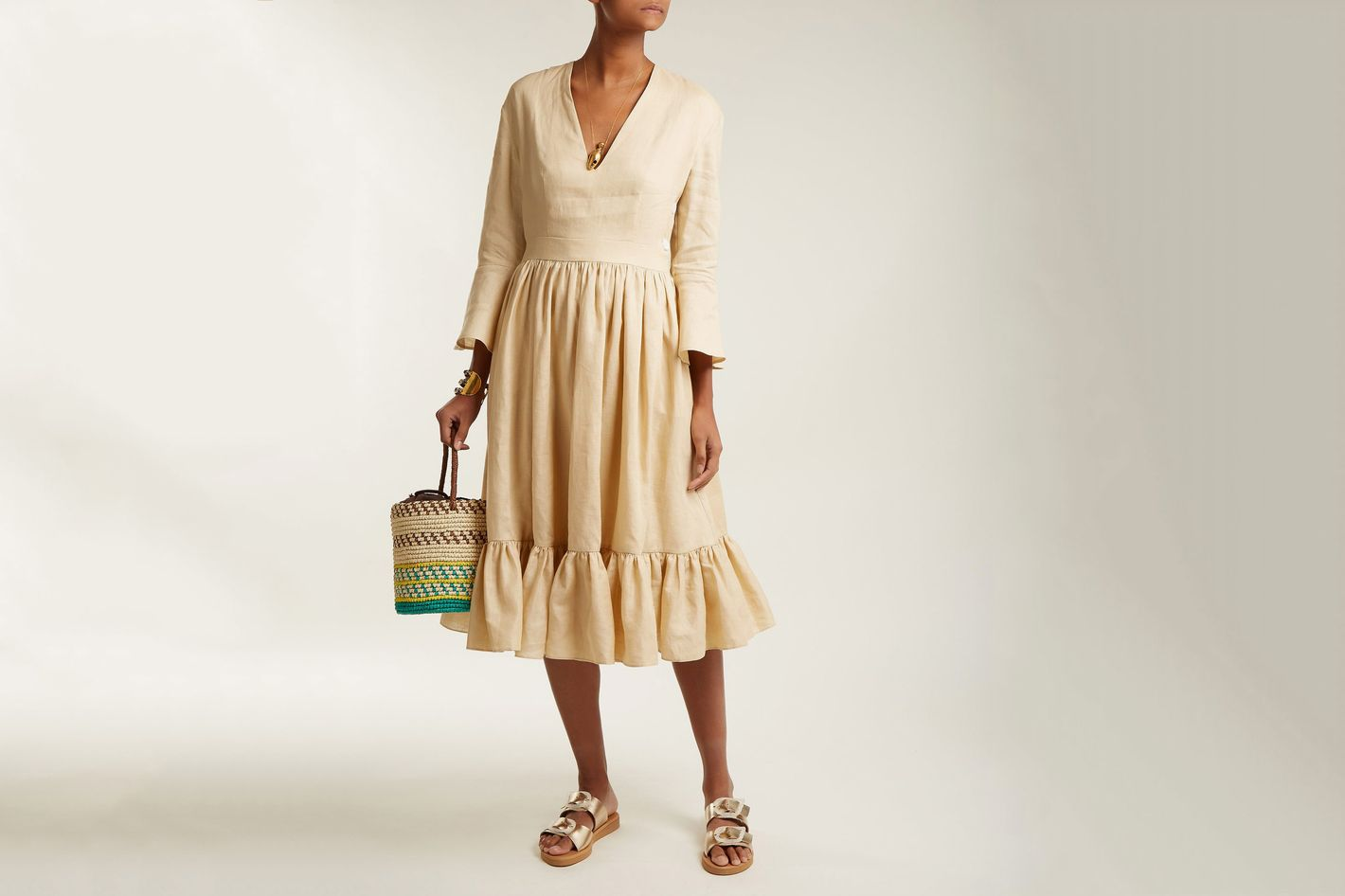 95e8f4c188 Sea Island Bell-Sleeve Linen Dress