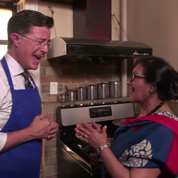 Watch Stephen Colbert Cook Indian Food With An Amazing Organization