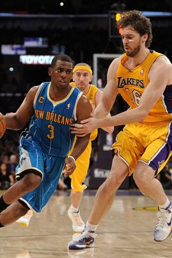LOS ANGELES, CA - APRIL 20:  Chris Paul #3 of the New Orleans Hornets drives on Pau Gasol #16 of the Los Angeles Lakers in Game Two of the Western Conference Quarterfinals in the 2011 NBA Playoffs on April 20, 2011 at Staples Center in Los Angeles, California. NOTE TO USER: User expressly acknowledges and agrees that, by downloading and or using this photograph, User is consenting to the terms and conditions of the Getty Images License Agreement.  (Photo by Harry How/Getty Images) *** Local Caption *** Chris Paul; Pau Gasol