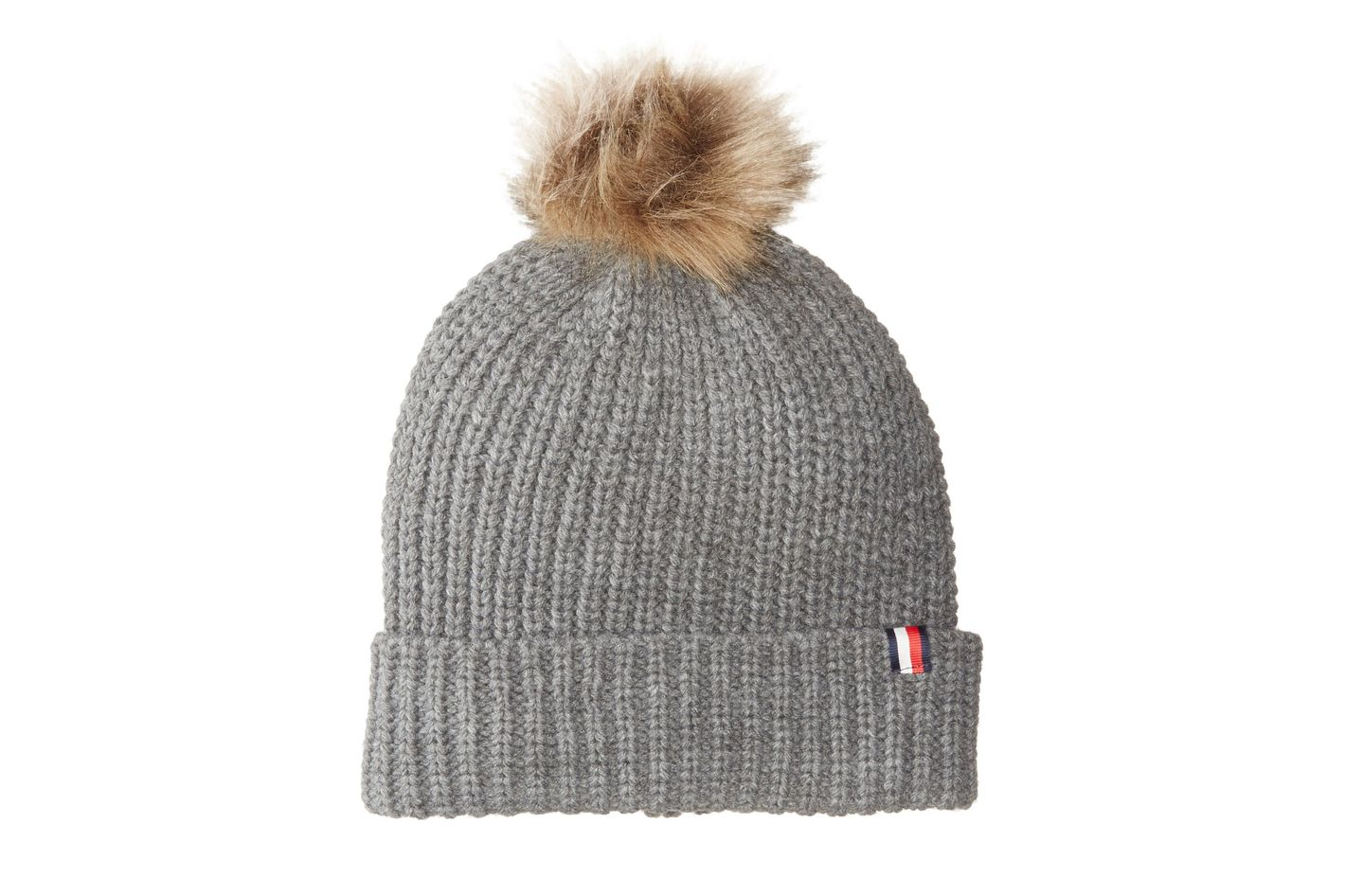 Tommy Hilfiger Women's Rib Cuff Hat With Faux Fur Pom