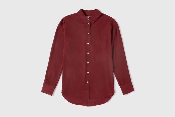 Everlane Relaxed Silk Shirt in Burgundy