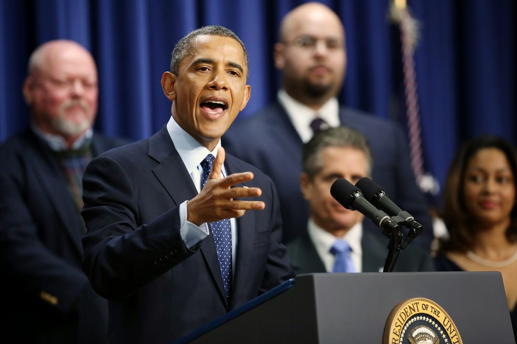 U.S. President Barack Obama delivers remarks about the fiscal cliff negotiations in the Eisenhower Executive Office Building next to the White House December 31, 2012 in Washington, DC. Obama said he was hopeful that an agreement could be found to avert the fiscal cliff in Congress, which is closing in on a deal that would raise taxes on households that make more than $450,000 a year and individuals who make more than $400,000.