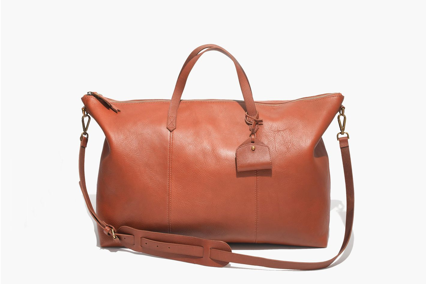 5bb9c4cb9892 A Classic Leather Option. Madewell  Transport  Weekend Bag