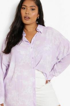 Boohoo Plus Porcelain Print Shirt