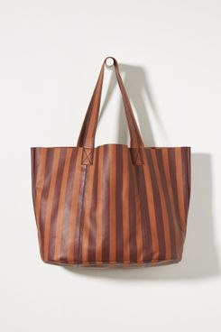 Anthropologie Striped Leather Tote Bag